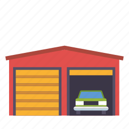 building, car, garage, house, real estate, realty icon