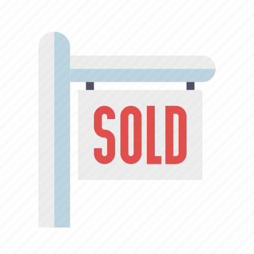 home, house, real estate, realty, sign, sold icon