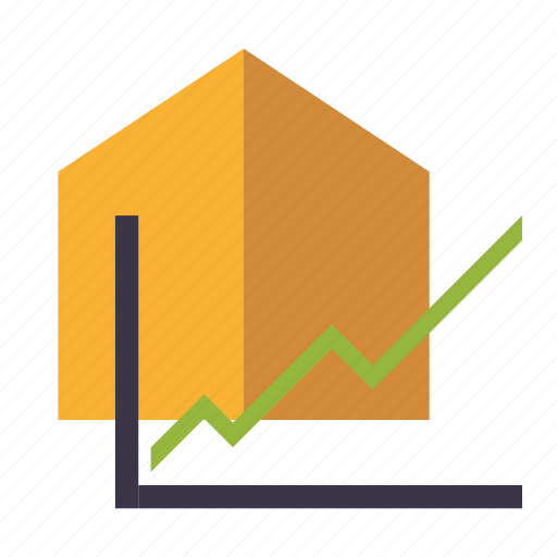 graph, house, increase, real estate, realty, value icon