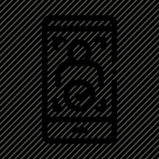 person, phone, recognition, verification icon