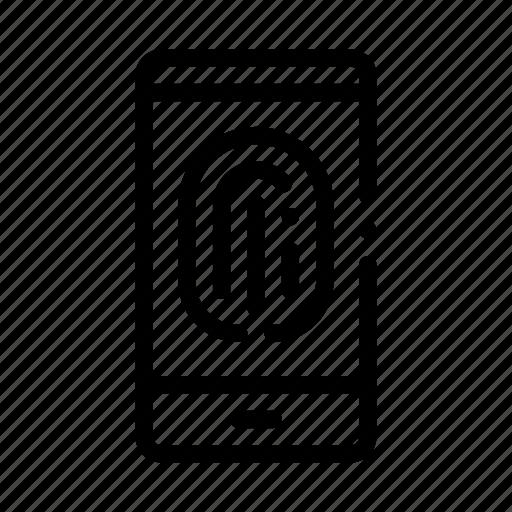 fingerprint, phone, recognition, scan icon