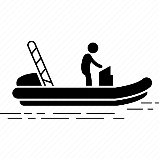 boat, inflatable, motor icon