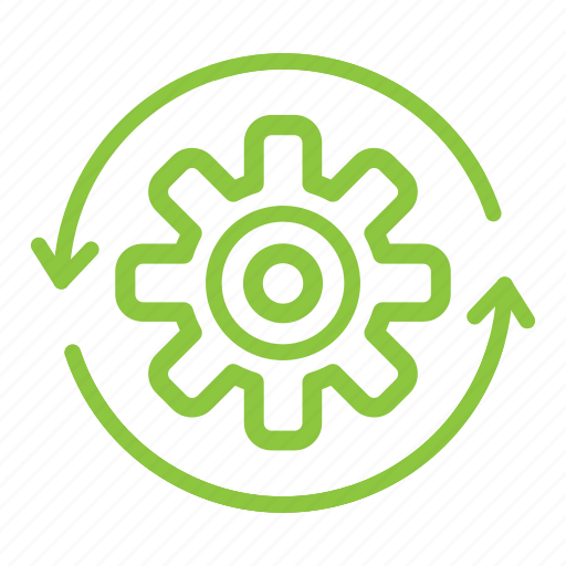 gear, recycle, reduce, reuse icon