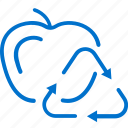 apple, ecology, food, recycle, recycling, trash, waste icon