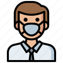 air, contamination, gas, man, mask, pollution, security, user icon
