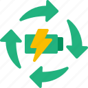 battery, full, recycling, power, recharge icon