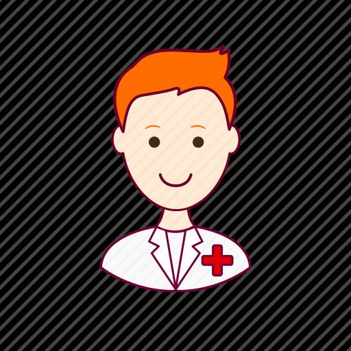 .svg, enfermeiro, job, nurse, profession, professional, profissão, red head, ruivo, white man icon