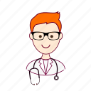 .svg, doctor, job, médico, profession, professional, profissão, red head, ruivo, white man icon
