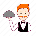 garçon, job, profession, professional, profissão, red head, ruivo, waiter, white man icon