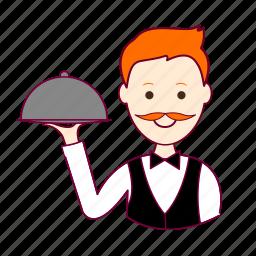 garçon, job, profession, professional, profissão, red head, ruivo, waiter, white man icon