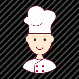 chef, chefe, chefe de cozinha, cook, job, profession, professional, profissão, red head, ruivo, white man icon