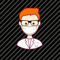 .svg, dentist, dentista, job, profession, professional, profissão, red head, ruivo, teeth, tooth, white man icon