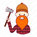 .svg, job, lenhador, lumberjack, profession, professional, profissão, red head, ruivo, white man icon