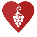 grapes, love, red, romantic, wine icon
