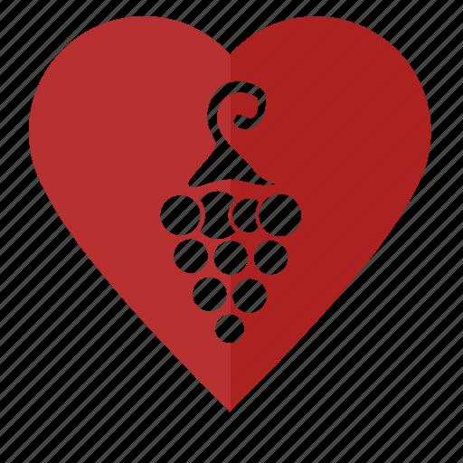 grapes, love, red, romantic, wine icon