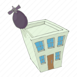 building, cartoon, damage, destruction, disaster, house, ruin icon