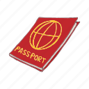 cartoon, document, immigration, passport, red, tourism icon