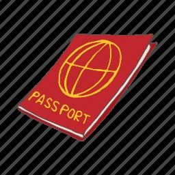 cartoon, document, immigration, passport, red, tourism icon