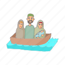 asylum, boat, border, cartoon, immigrant, refugee, syrian icon
