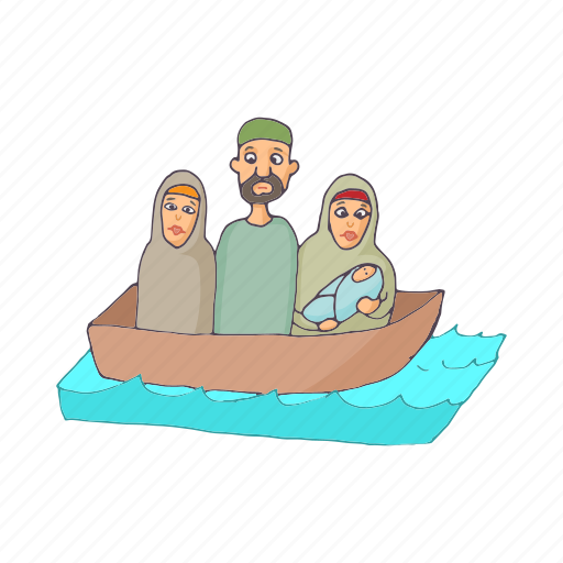 asylum, boat, border, cartoon, immigrant, refugee, syrian icon