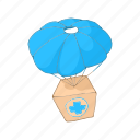 aid, box, cargo, cartoon, delivery, parachute, transport icon