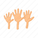 cartoon, crisis, hand, help, immigration, refugee, word icon