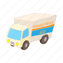 aid, car, cartoon, help, humanitarian, road, transport icon