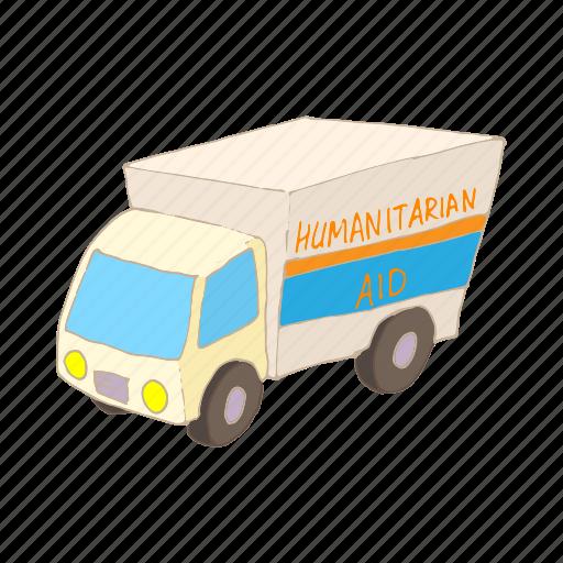 aid, car, cartoon, help, humanitarian, road, transport icon