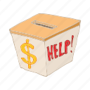 cartoon, charity, donation, help, humanitarian, money icon