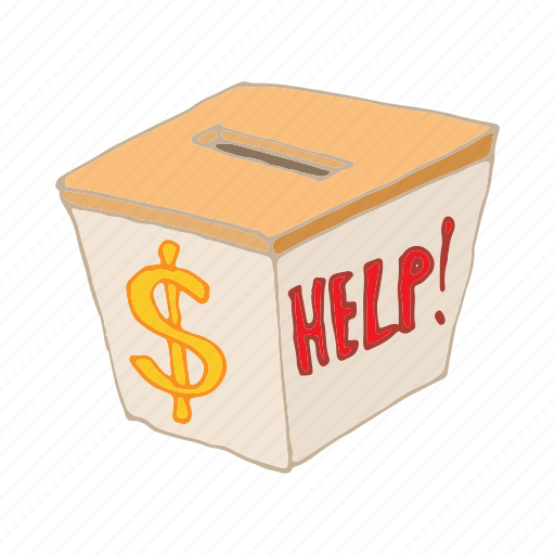 cartoon, charity, donation, help, humanitarian, money icon