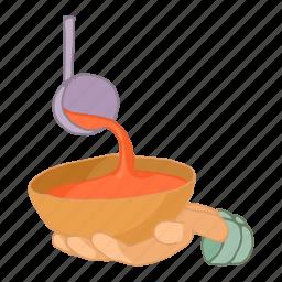 bowl, cartoon, charity, food, hand, hungry, poverty icon