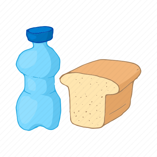 bottle, bread, cartoon, container, drink, plastic, water icon