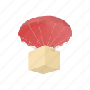 aid, box, cargo, delivery, humanitarian, parachute, transport icon
