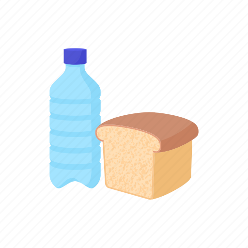 bottle, bread, container, drink, fresh, plastic, water icon