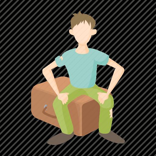 baggage, human, man, poor, refugee, suitcase, war icon