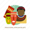 african, beliefs, religion, traditional, traditional african beliefs icon