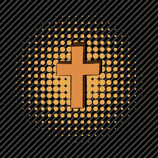 catholicism, christian, christianity, comics, cross, latin, living pictogram icon
