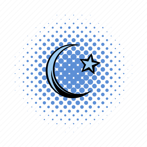 comics, crescent, half, moon, muslim, ramadan, star icon