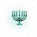candlestick, celebration, comics, hanukkah, israel, light, menorah icon