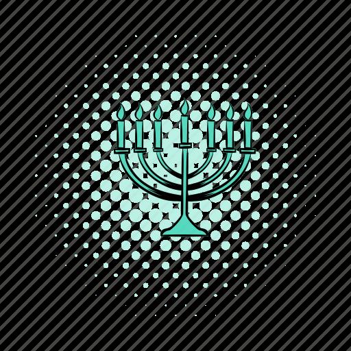 candlestick, celebration, comics, hanukkah, israel, light, menorah icon