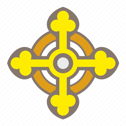 christian, cross, religion, round, sign icon