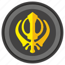 khanda, religion, round, sign, sikhism icon