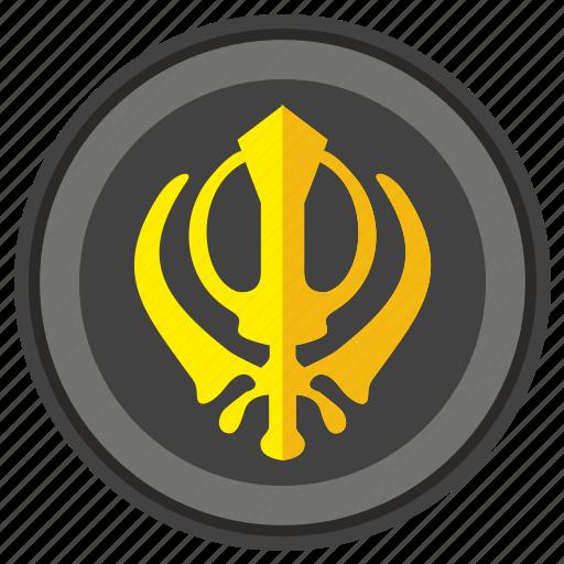 khanda, religion, round, sign, sikhism icon