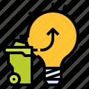 bulb, waste, energy, renewable, electric icon