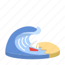beach, boat, energy, ocean, sand, sea, wave icon