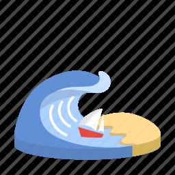 beach, boat, energy, ocean, sand, sea, wave icon