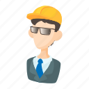 builder, cartoon, glasses, person, tool, work, worker icon