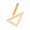 cartoon, education, geometry, ruler, school, tool, triangle icon
