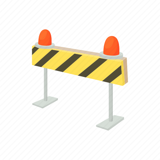 barrier, cartoon, road, safety, sign, street, traffic icon