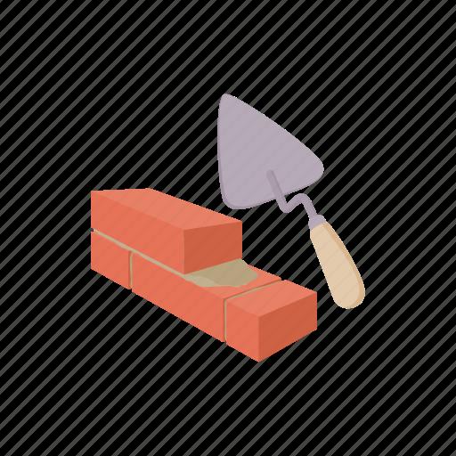 brick, build, cartoon, tool, trowel, wall, work icon